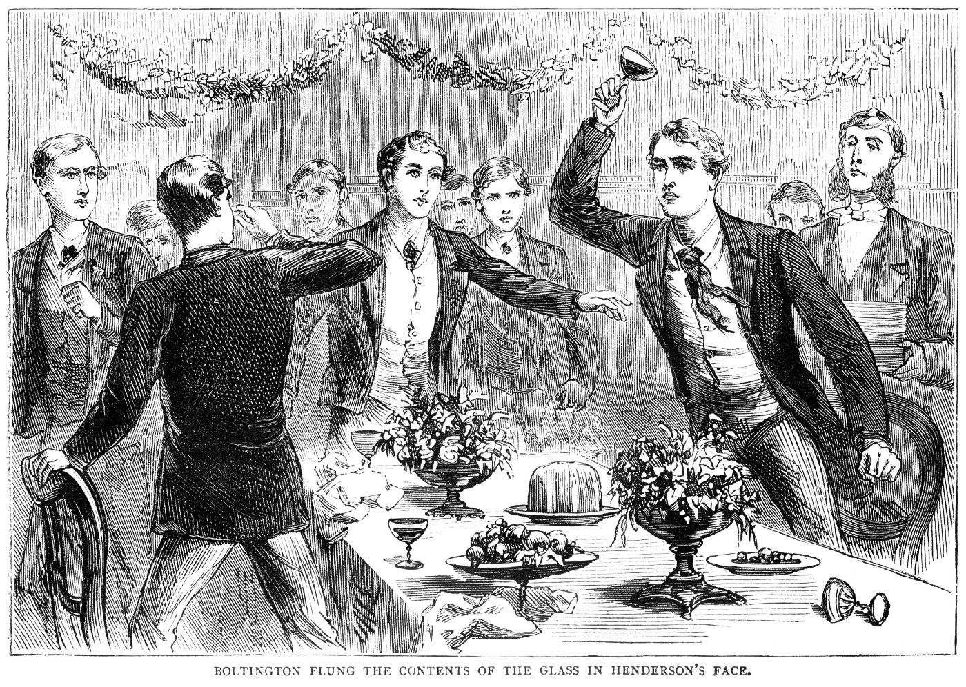 An illustration of a group of young upper-class males having an argument at the dinner table, with one throwing wine into another's face.