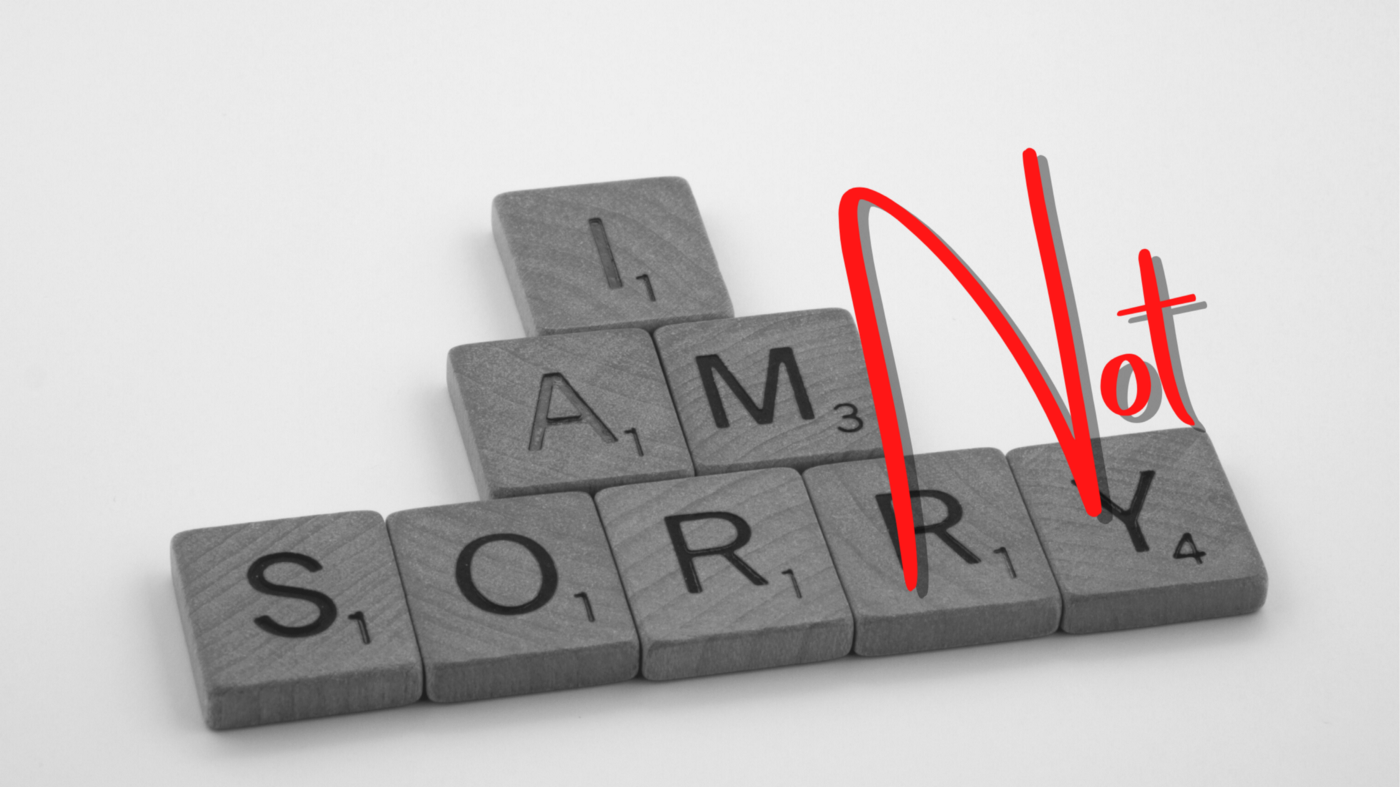"""Scrabble tiles that say """"I am not sorry."""""""