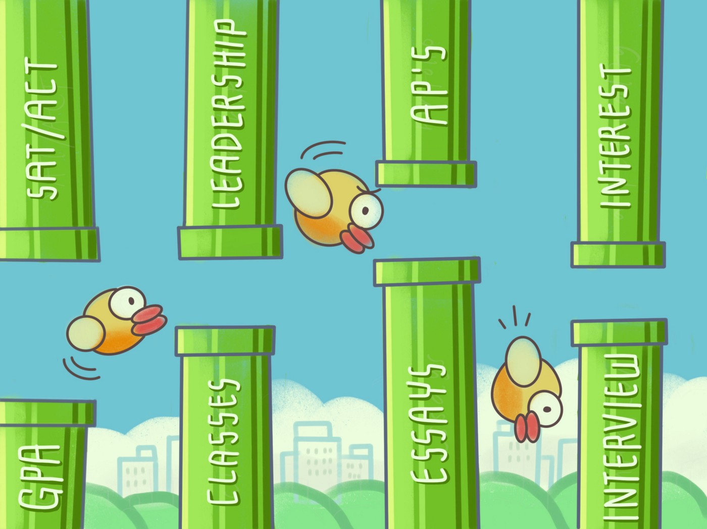 flappy bird trying to get over obstacles to get into college