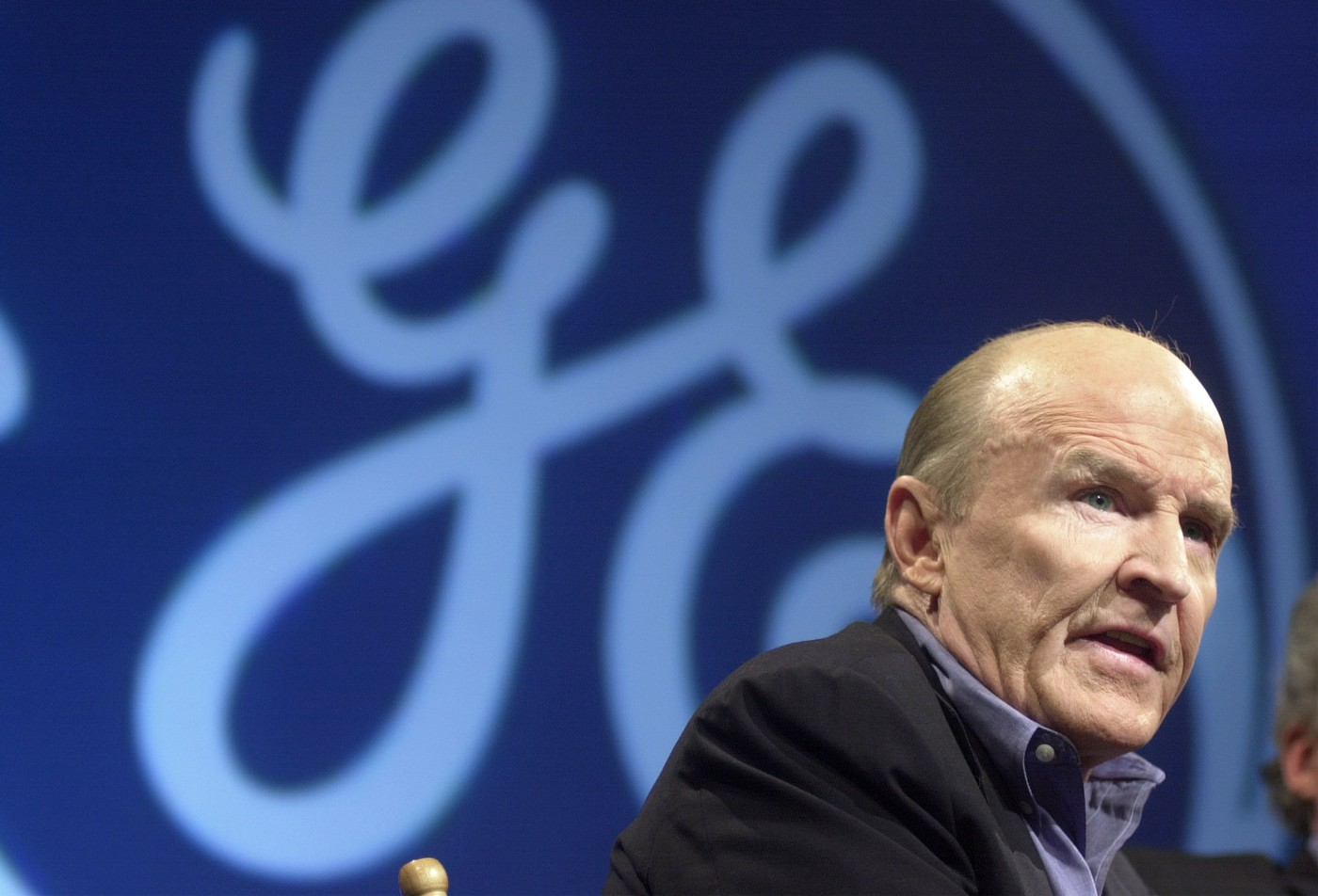 General Electric Chairman and CEO John F. Welch speaks during a news conference November 27, 2000, in New York City.