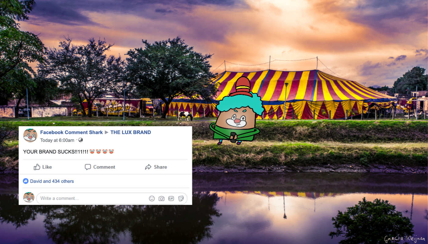 A clown Blob standing in front of a red and yellow circus tent facing a river. The clown has blue-ish hair, a red with a yellow hat, and wears a green shirt. It's holding a phone and has an evil smirk on its face because it just sent out another harassing comment to a brand.