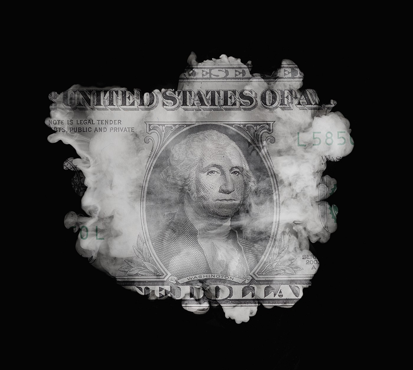A cloud on a black background is superimposed over a US dollar bill.