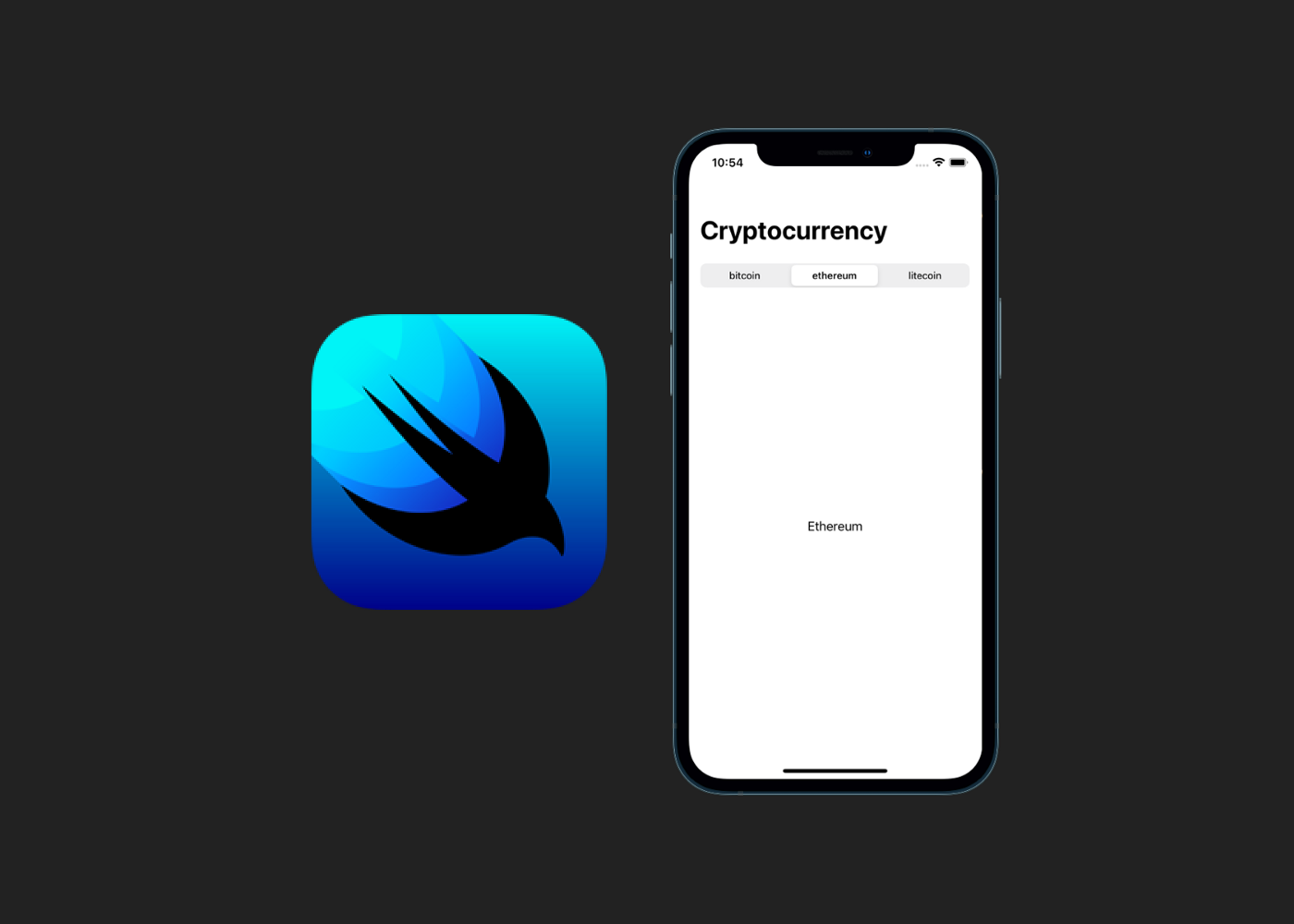 SwiftUI logo with an iPhone displaying a SwiftUI picker