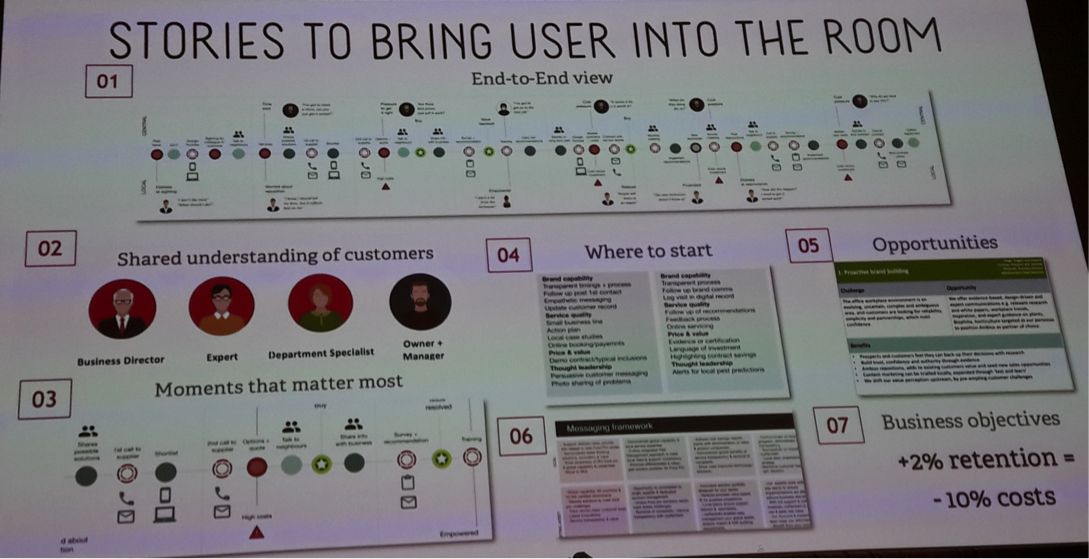 one slide showing how you can have Stories to bring the user in the room.
