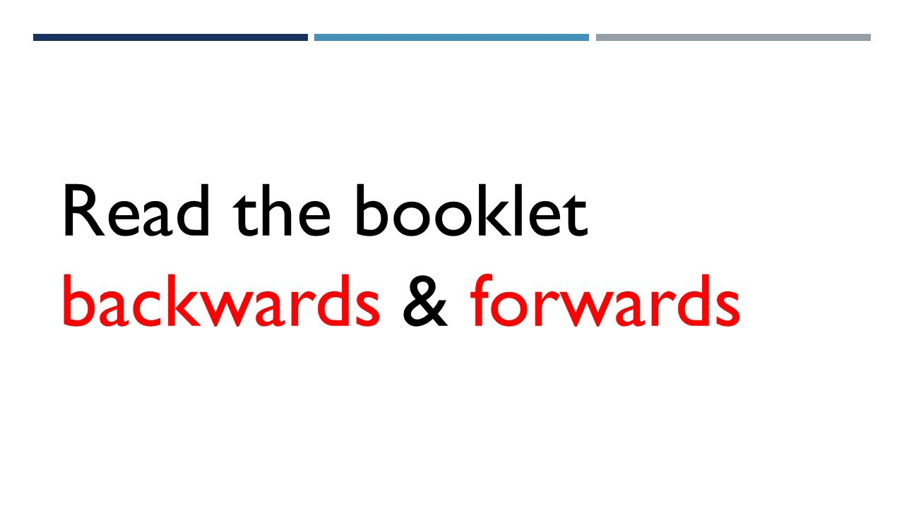 Booklet can be read forwards and backwards