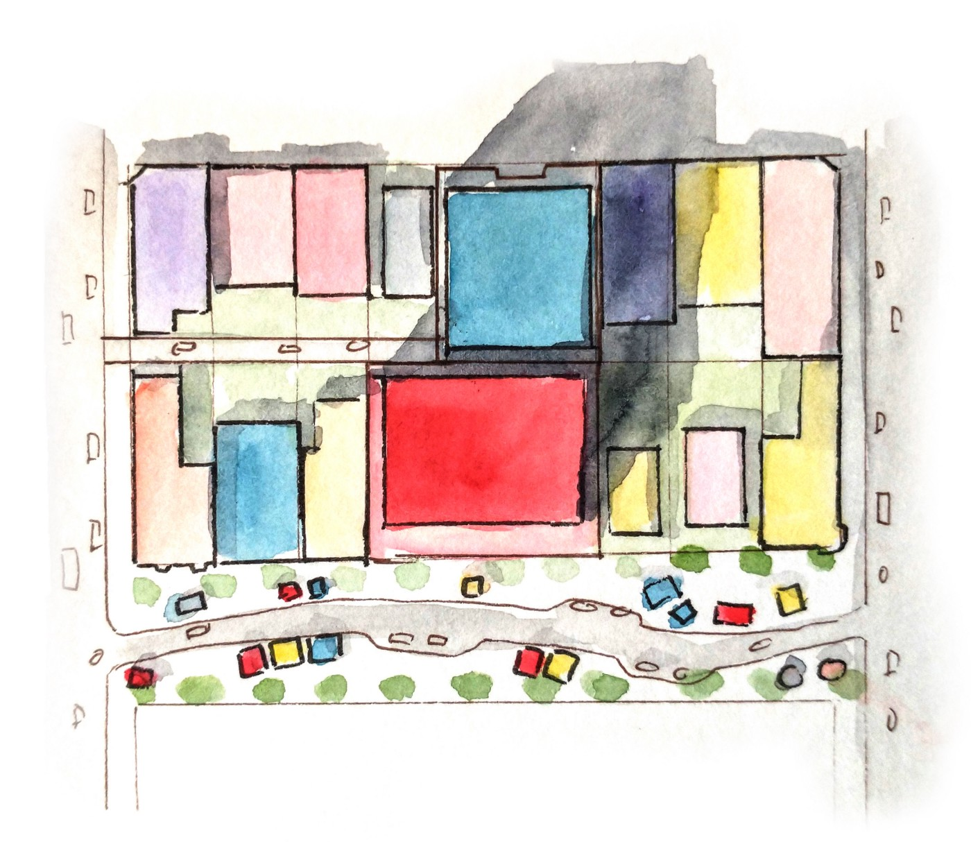 a block with different buildings shaded different colors. Two tall ones are in the middle.