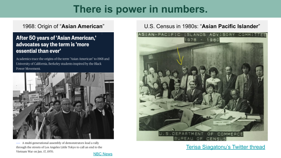 A headline on the history of Asian Americans in America. A photo the Asian-Pacific Islands Advisory Committee of U.S. Census.