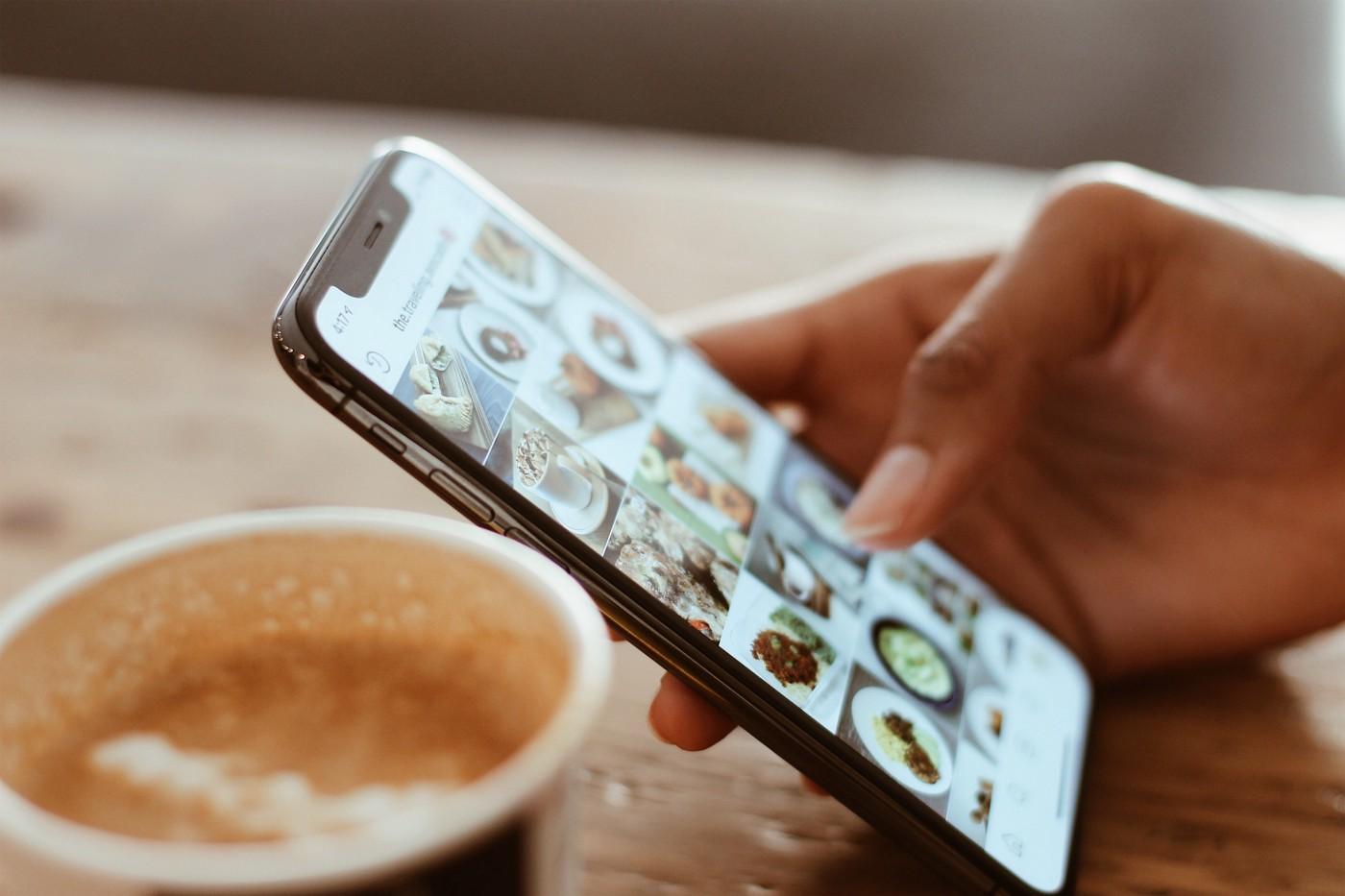 cell phone instagram and coffee
