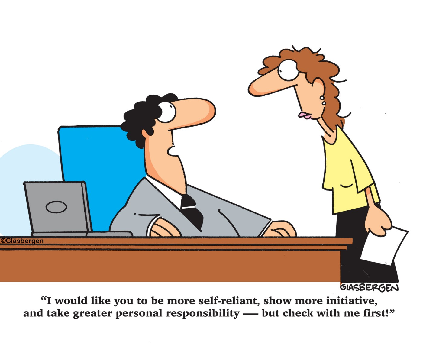 A cartoon manager gives review to employee
