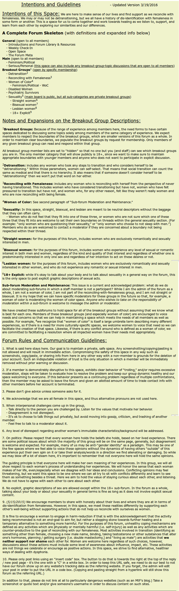 Screenshot of Forum Intentions and Guidelines
