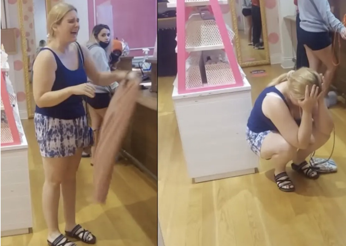 Abigail Elphick throws a tantrum while being filmed at Victoria's Secret