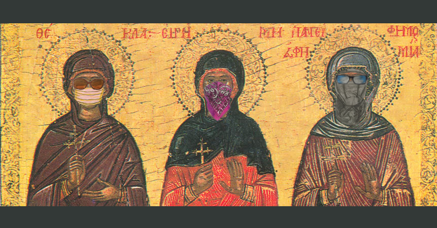 Medieval drawing of 3 saints including St. Thekla, with various face coverings drawn on ala anarchists