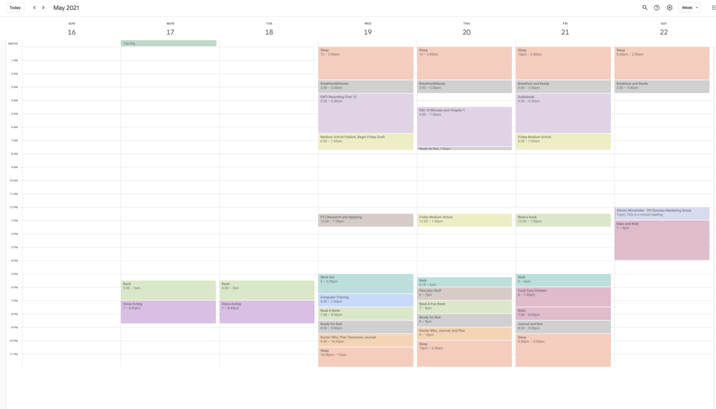 Google Calendar screenshot with a lot of events on it for the week