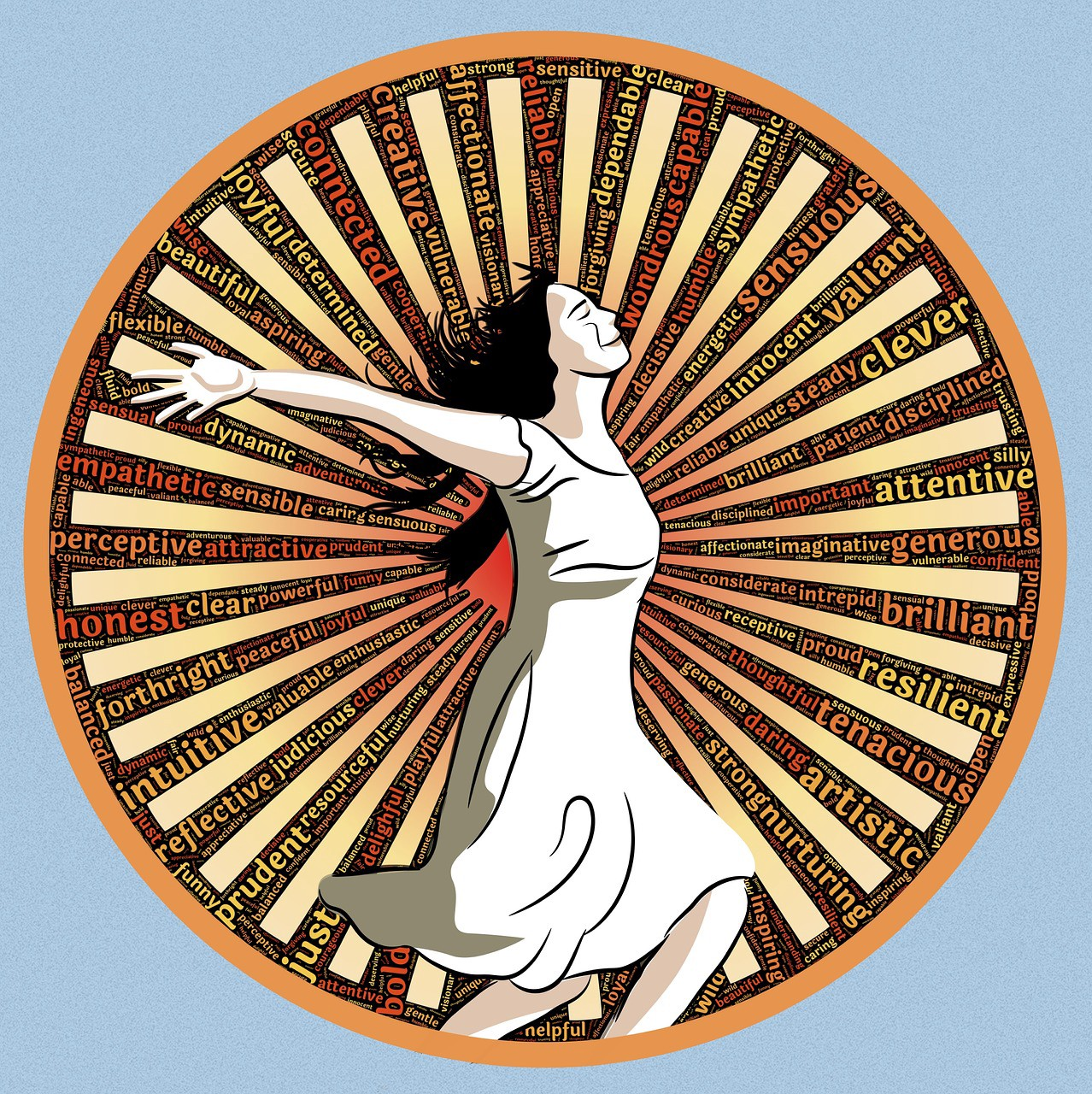 Woman in white sleeveless dress, flowing brown hair, right arm outstretched, She stands in a wheel, between rays around it are qualities e.g. clever, valiant, resilient, artistic, forthright, intuitive, effective, joyful, tenacious, creative, affectionate, tenacious, reliable, dependable.