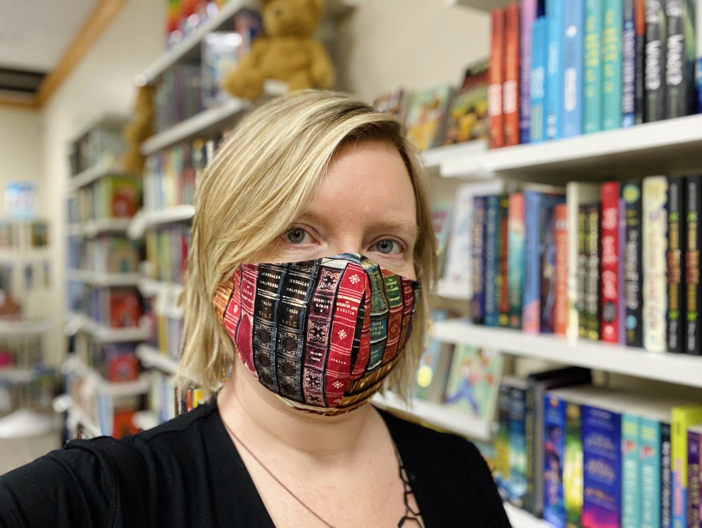 A photo of the author wearing a face mask.