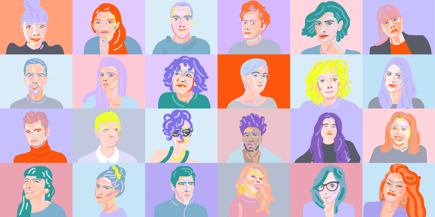 Portraits of the 24 people working on the 12 fellowship projects