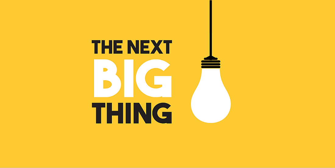 "Yellow background with a bulb hanging on the right side. ""Next Big Thing"" is typed in bold alongside the bulb."