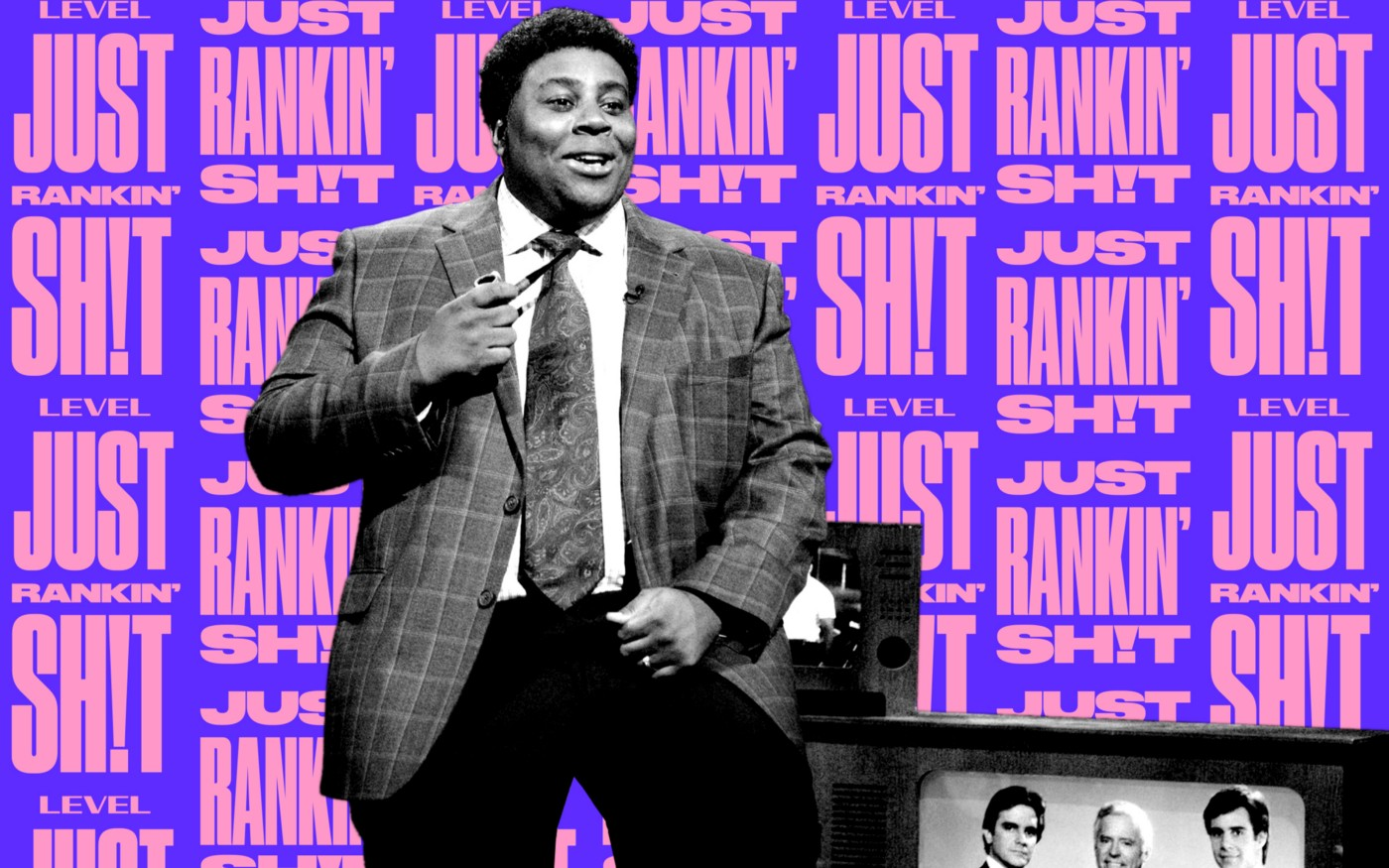 """SNL cast member Kenan Thompson performing with the text """"Just Rankin' Shit"""" behind him in the background."""
