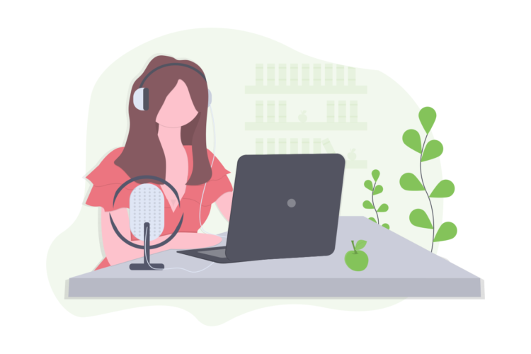 Illustration of a modern employee using her laptop and headphones to work remotely