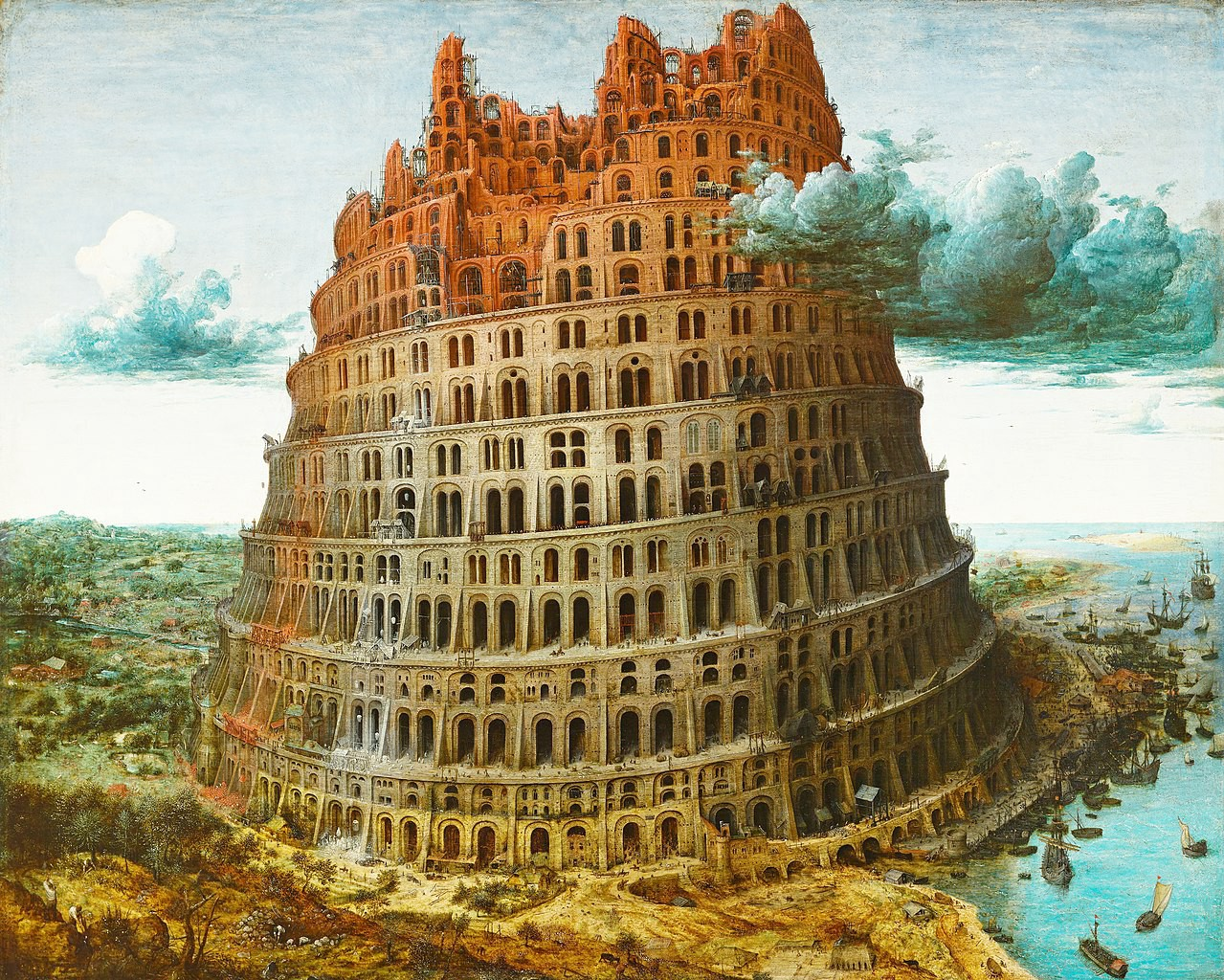 The Tower of Babel reaching into the clouds