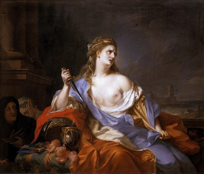 An oil painting of a distraught woman holding a daggar.