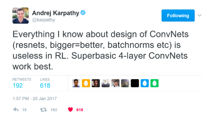 """Screenshot of a tweet by @karpathy that reads """"Everything I know about design of ConvNets (resnets, bigger=better, batchnorms etc) is useless in RL. Superbasic 4-layer ConvNets work best."""""""