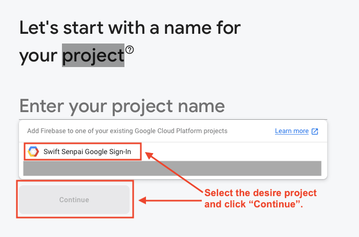 Select a Google Cloud Platform project to add to Firebase