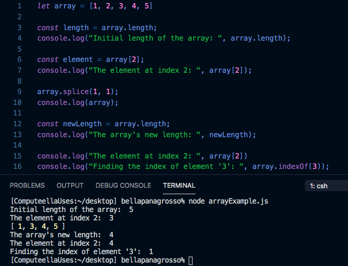 Splicing an element from an array moves all the elements after the spliced element back one index