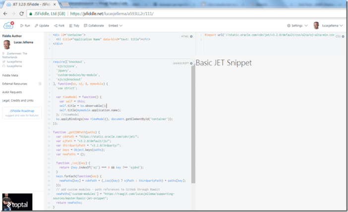 Creating JSFiddle for Oracle JET snippets - Oracle