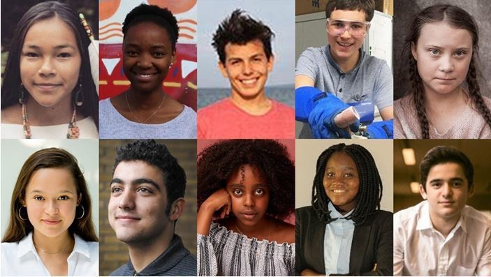 Headshots of 10 young boys and girls(teenage change-makers) from around the world