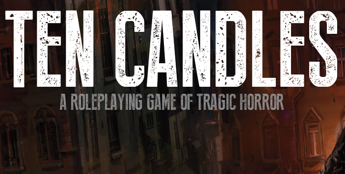 "Logo for ""Ten Candles: A Roleplaying Game of Tragic Horror""."