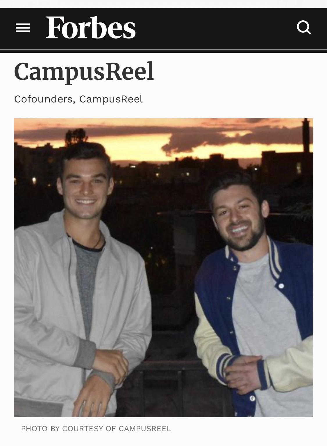 Rob Carroll and Nick Freud, CampusReel, Forbes U30, Young Business Club of New York City, YBC NYC