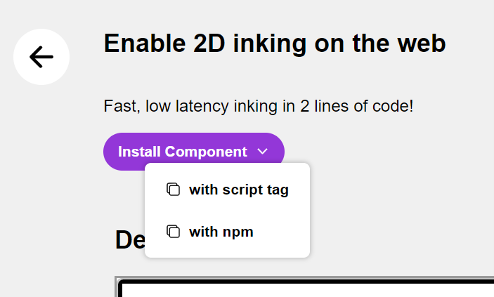 A screenshot of the dropdown on the install component button for the inking component.