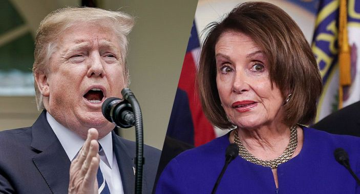Split Picture. Half is President Trump, other half is Speaker Nancy Pelosi