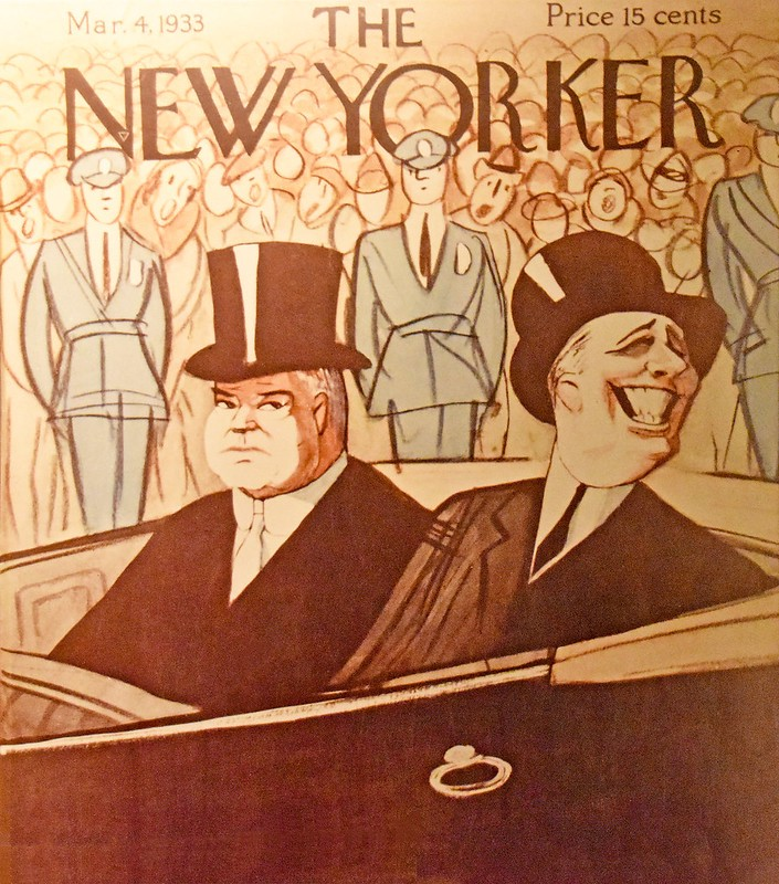 A cartoon of FDR smiling and Hoover looking glum on the cover of an old New Yorker magazine