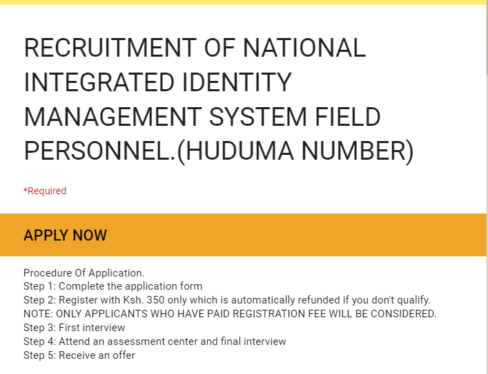 HOAX: Huduma Kenya is not recruiting personnel for the