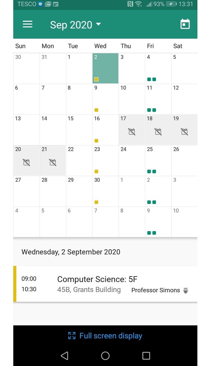 Mobile view of My Study Life Calendar App