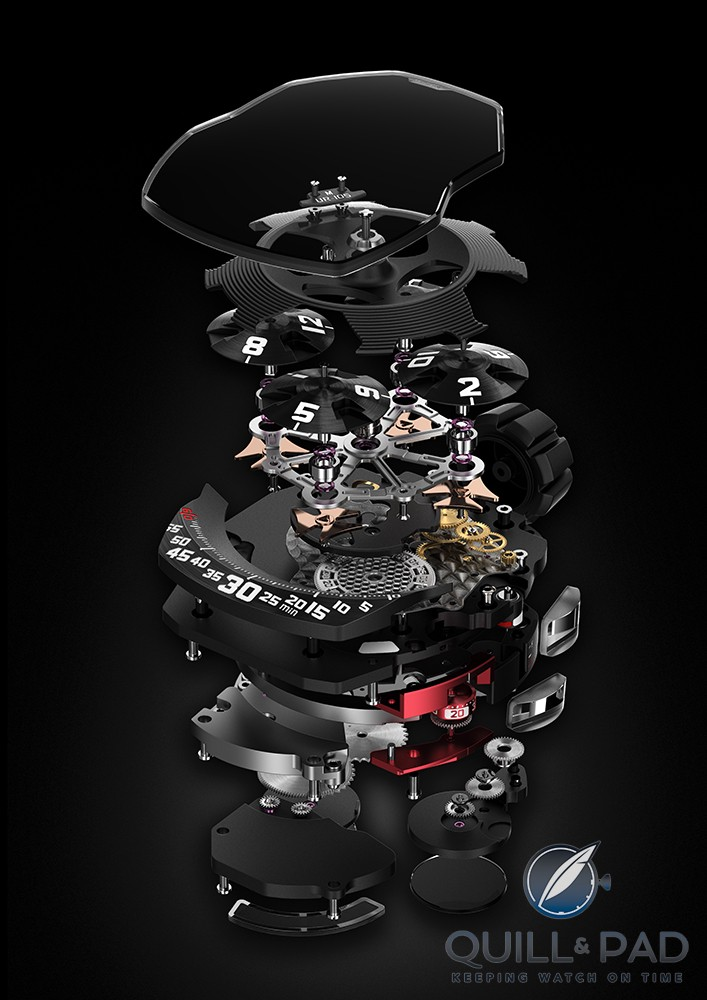 Exploded view of the UR-105M complications and movement