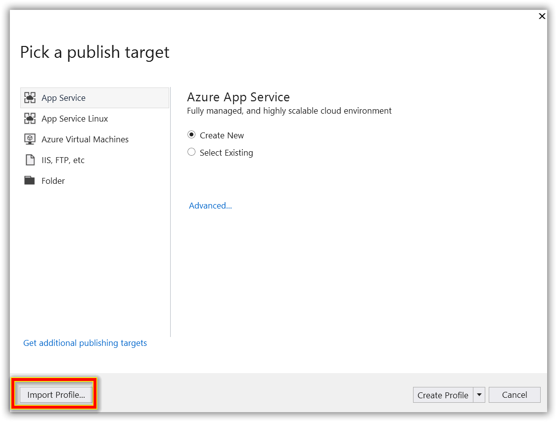 Picking a publish target and importing profile