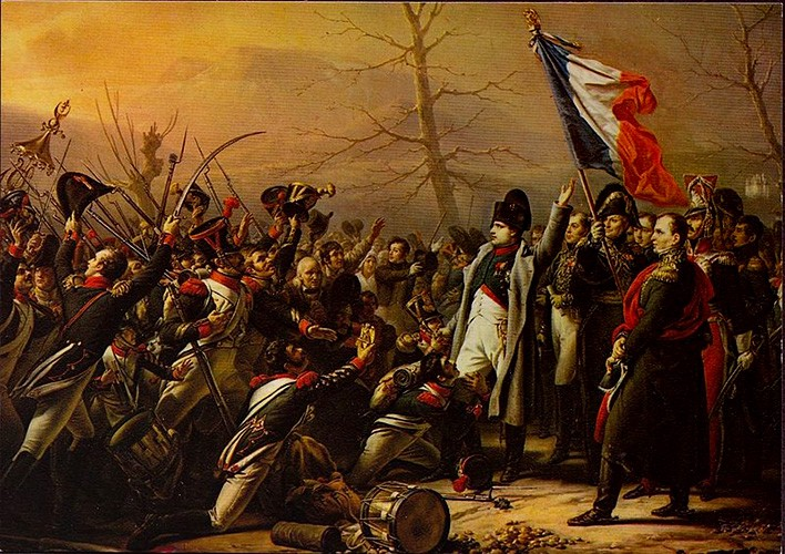 Napoleon leading uniformed troops, with a French flag waving in the background.