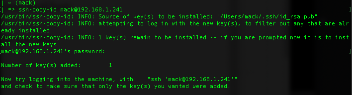 Screenshot of ssh-copy-id copying a public key to a server