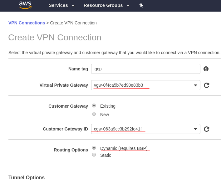 Site-to-site VPN between GCP and AWS with dynamic BGP routing