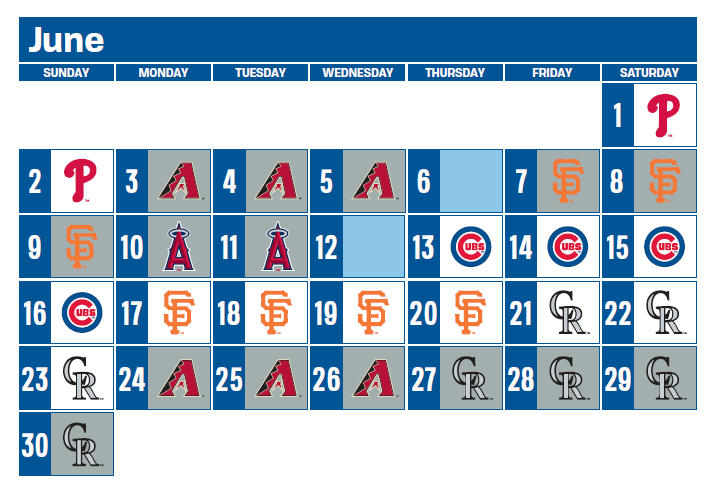 graphic about Dodgers Schedule Printable referred to as 2019 original regular monthly time schedules launched as a result of Primary