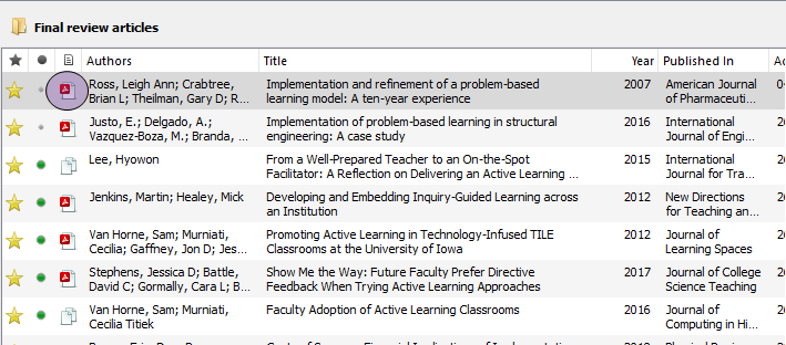 The central pane in Mendeley Desktop showing records with attached PDFs and PDF icon highlighted.