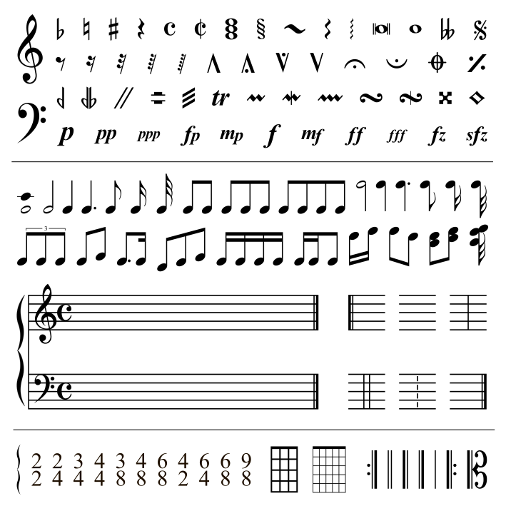 An image of Western musical notation and symbols.