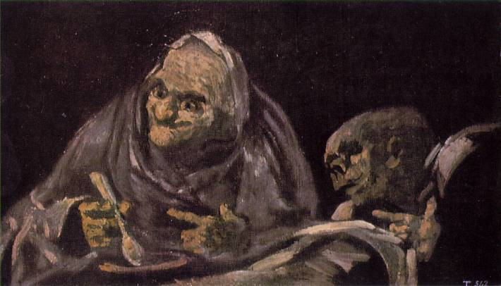 Two old men eat, smiling and pointing towards an unknown being in the foreground. (Francisco Goya, Black Paintings)