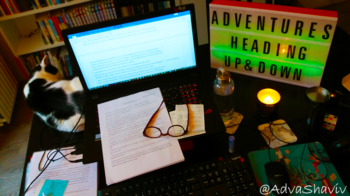 A desk with an open laptop, papers, cat, reading glasses, lightbox, candle, water bottle.