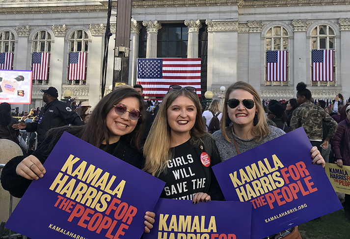 Ally, me, and Catherine stand in front of Kamala Harris' historic rally in Oakland, California.
