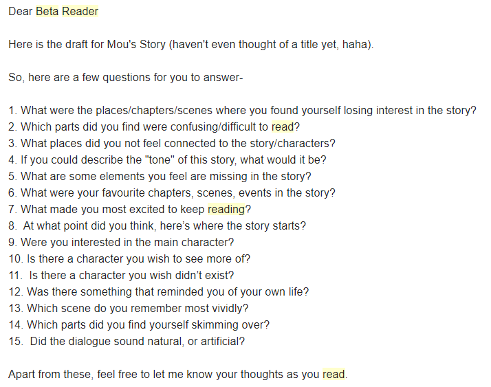 A sample of the questions the author sent to her beta readers.