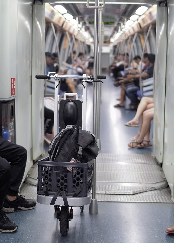 cargo e-scooter on rapid transit system
